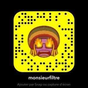 Monsieur Filtre mon filtre snapchat snapcode